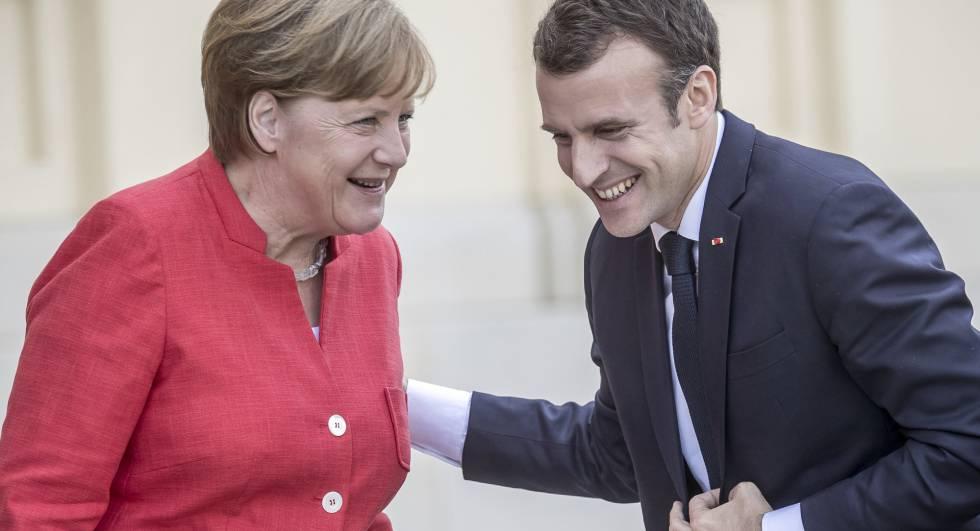 Macron es recibido por Merkel, en Berlín el pasado 19 de abril.