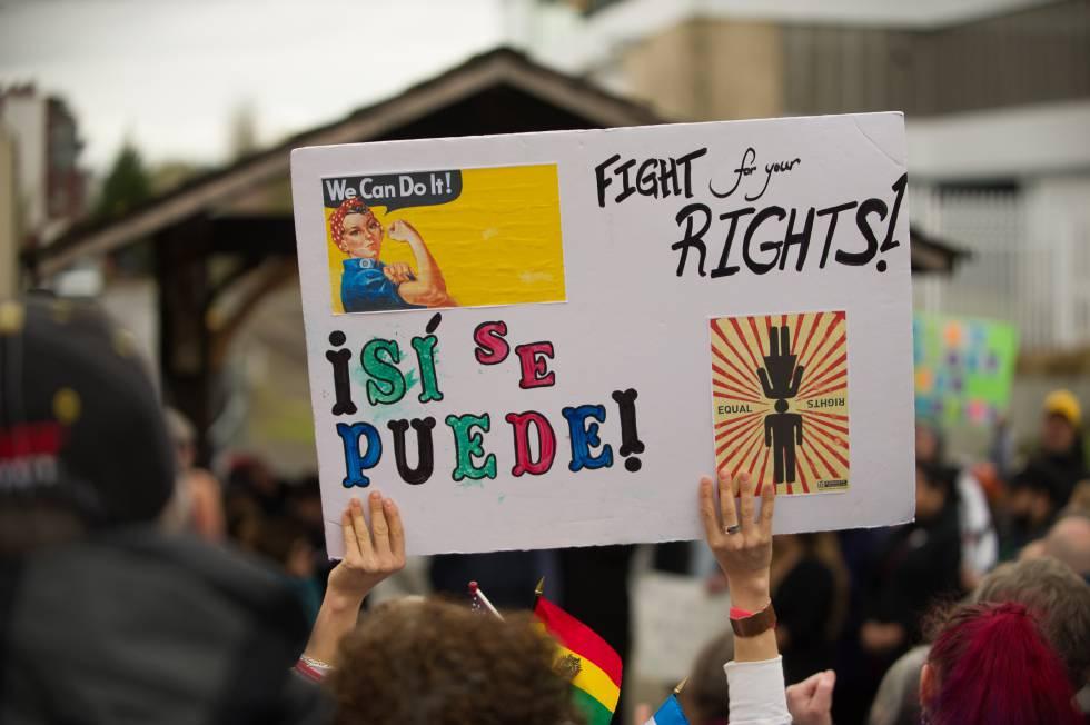 Manifestación en Portland el 27 de marzo contra las leyes migratorias de Trump.