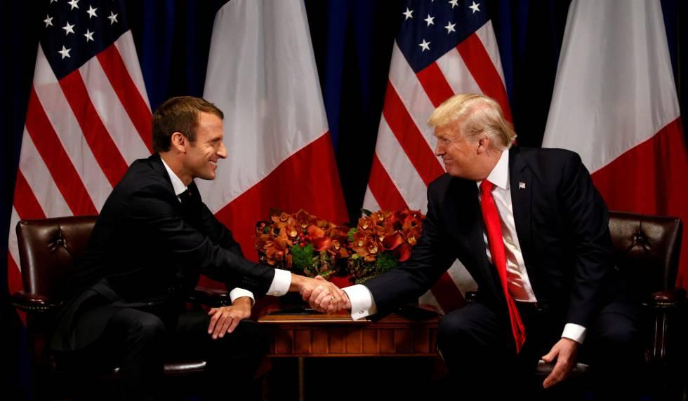 Donald Trump y Emmanuel Macron en Nueva York, el 18 de septiembre pasado.