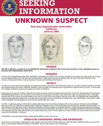 La ficha de búsqueda del 'Golden State Killer' del FBI.