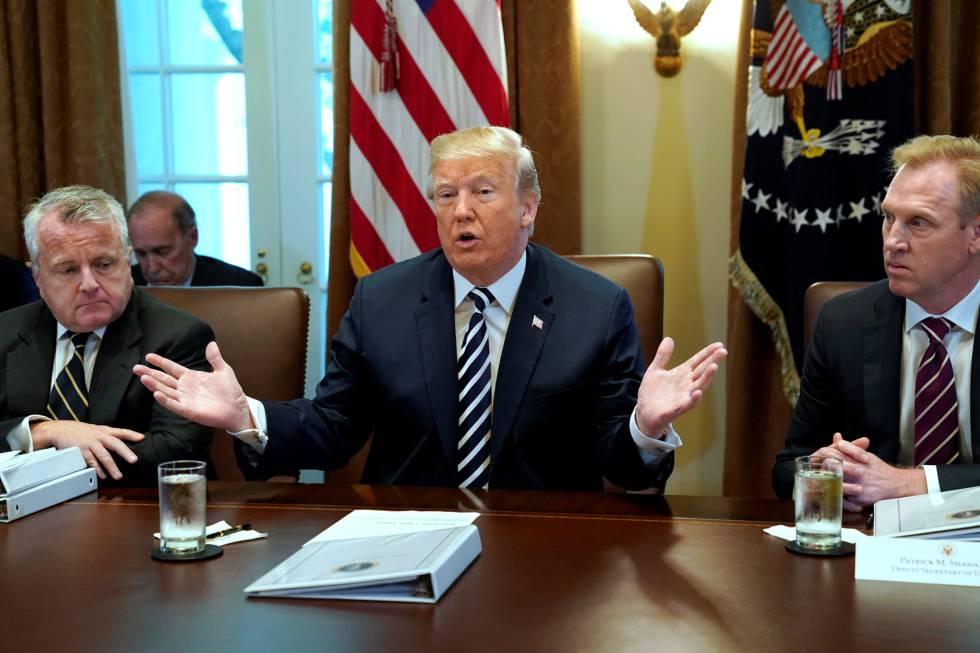 Trump, este miércoles durante la reunión de su gobierno