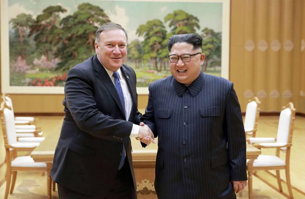 Pompeo y Kim, anoche en Pyongyang.