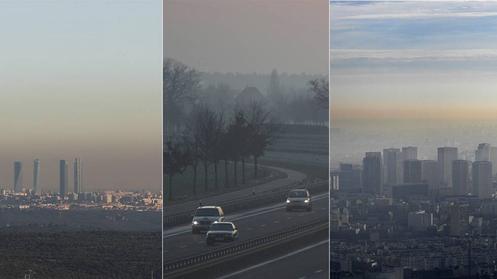 Contaminación atmosférica sobre Madrid, Berlín y París.