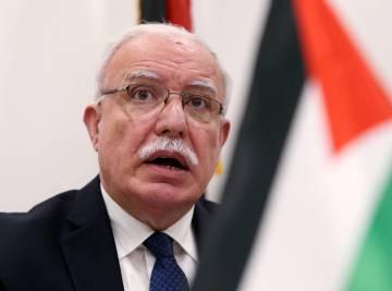 El ministro de Exteriores palestino Riyad al Malki, en conferencia de prensa en La Haya.