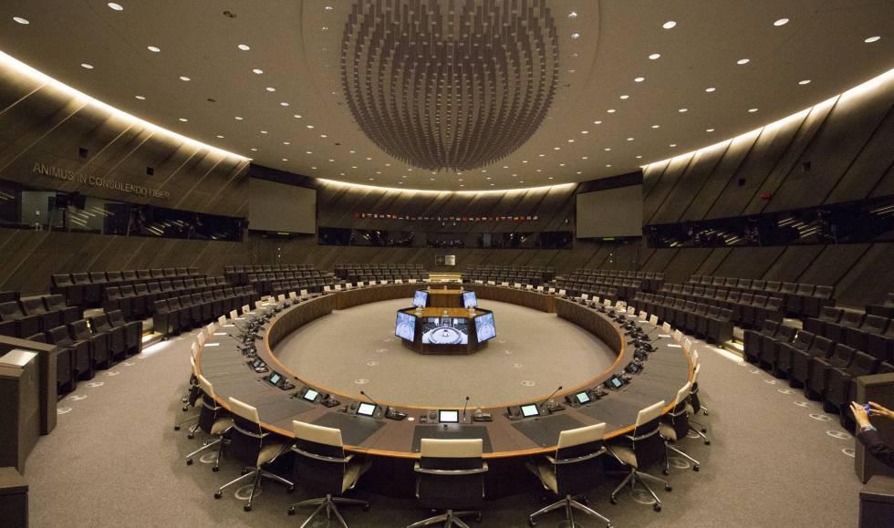 Sala 1, núcleo de decisión de la nueva sede de la OTAN en Bruselas.
