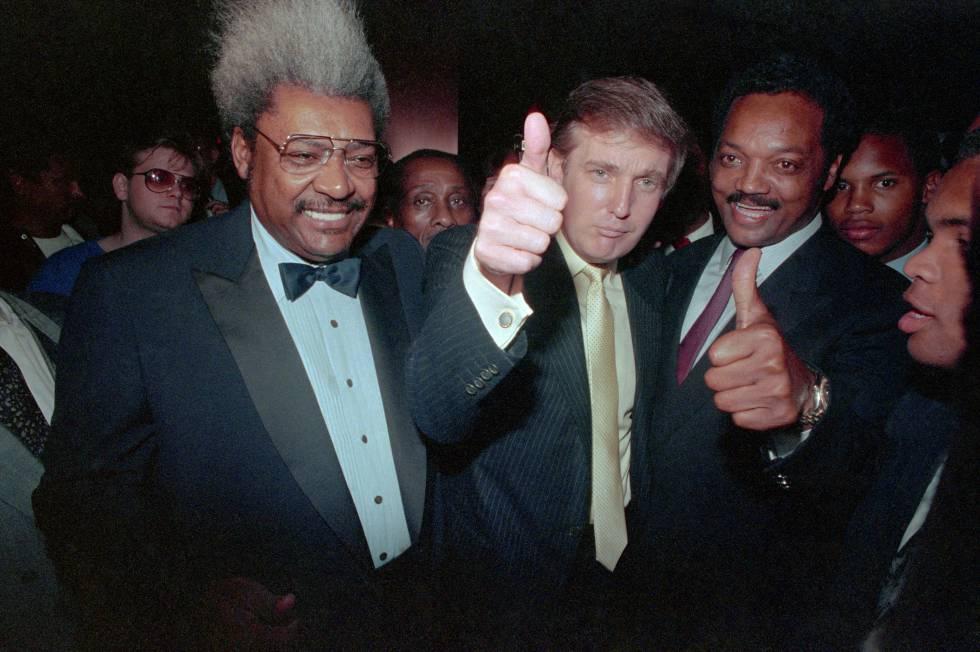 Trump y Jackson, en Nueva Jersey en 1988, antes de un combate de boxeo