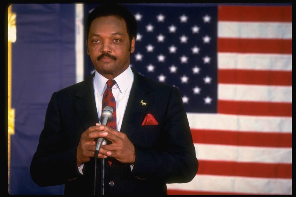 Jackson, durante un acto en la campaña electoral de 1988