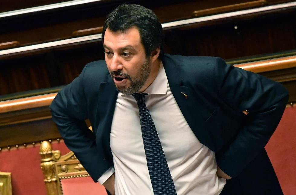 El ministro del Interior, Matteo Salvini, el miércoles en el Senado.
