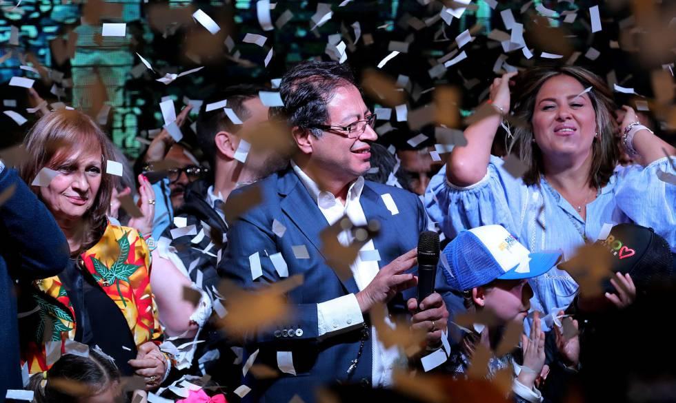 El candidato izquierdista Gustavo Petro durante su discurso tras los resultados electorales.