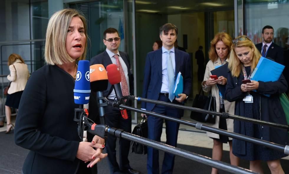La jefa de la diplomacia comunitaria, Federica Mogherini, en Luxemburgo, este lunes.