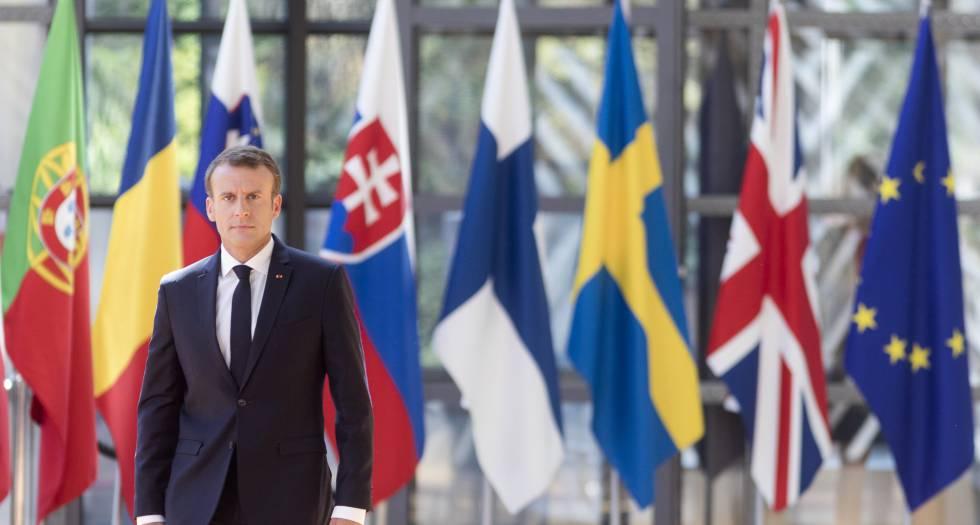 Emmanuel Macron, a su llegada al segundo día de cumbre en Bruselas.