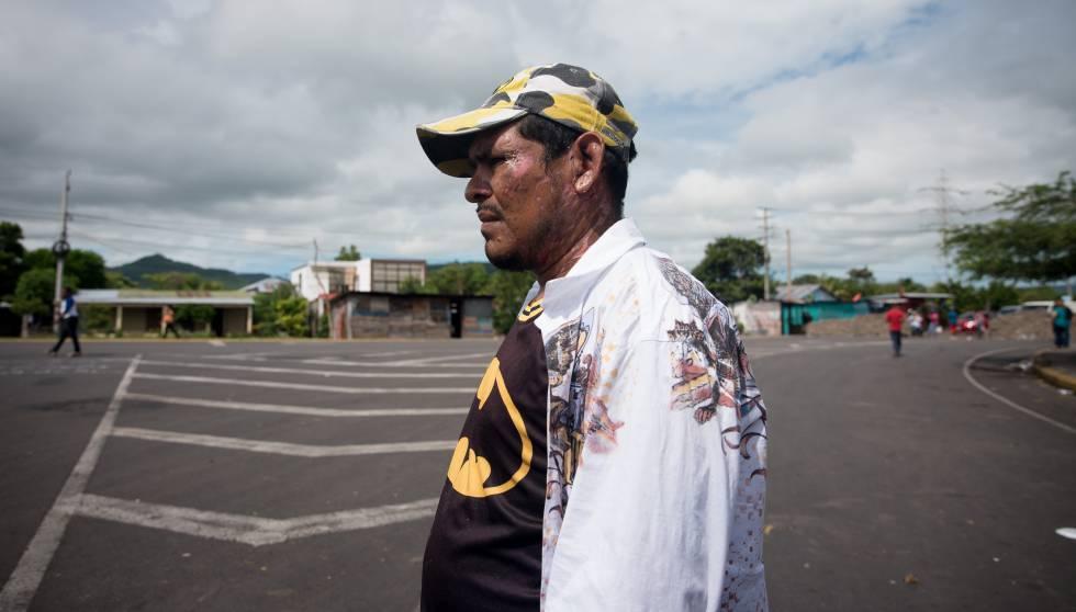 Marvin López el pasado miécoles en un bloqueo de carretera en Boaco (Nicaragua).