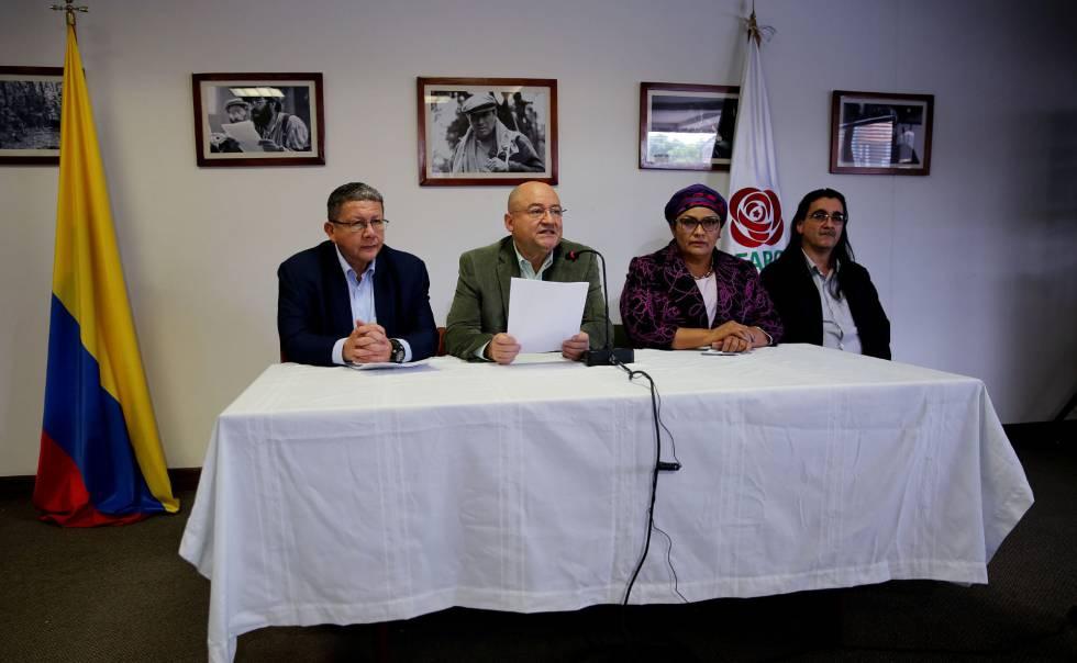 Miembros de la Fuerza Alternativa Revolucionaria del Comun, el partido de la exguerrilla de las FARC surgido del acuerdo de paz.