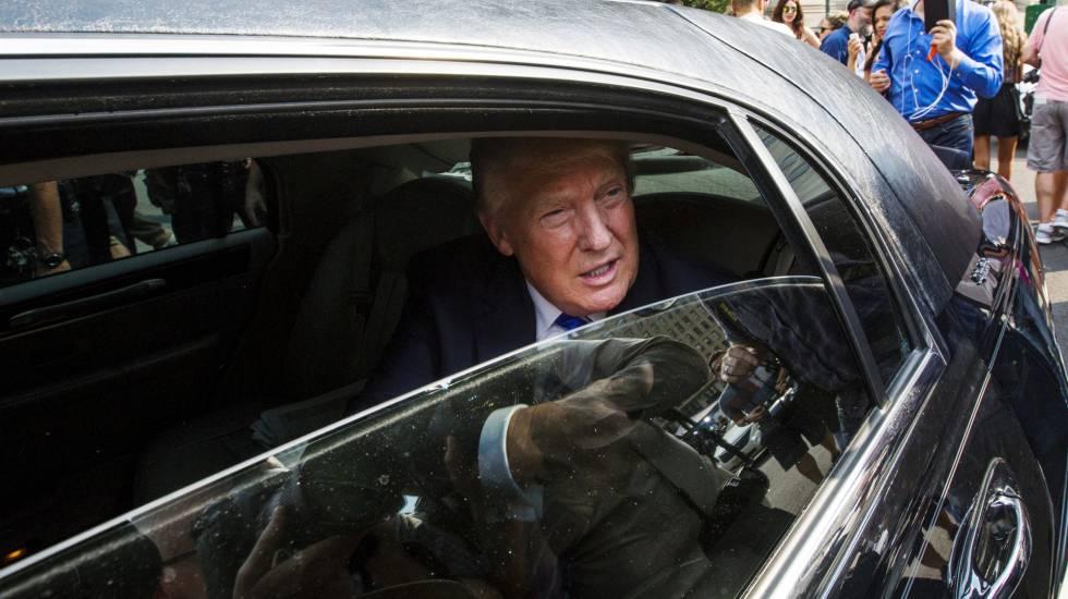 Donald Trump en su limusina antes de ser elegido presidente