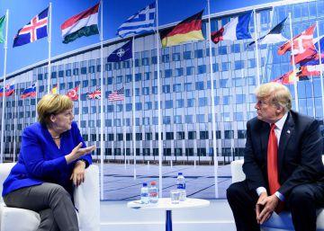 Angela Merkel y Donald Trump en la sede de la OTAN en Bruselas este miércoles.