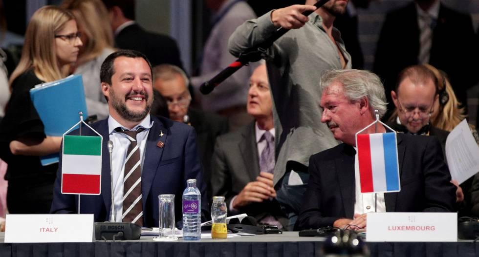 El ministro de interior italiano, Matteo Salvini, junto a su homólogo de Luxemburgo.