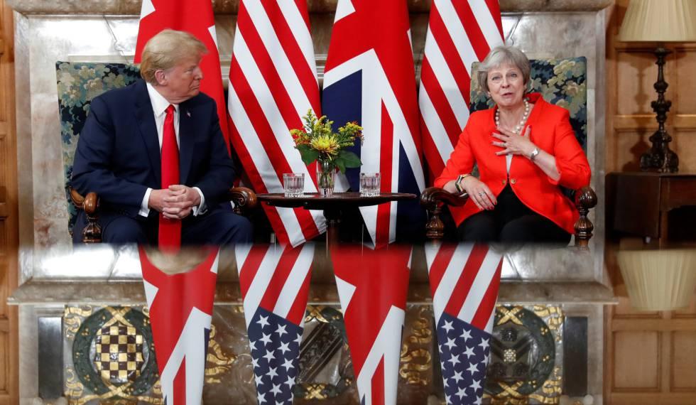 El presidente de EE UU, Donald Trump, junto a la primera ministra británica, Theresa May, el 13 de julio de 2018.