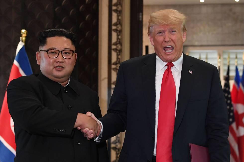 Kim y Trump en su reunión el 12 de junio en Singapur