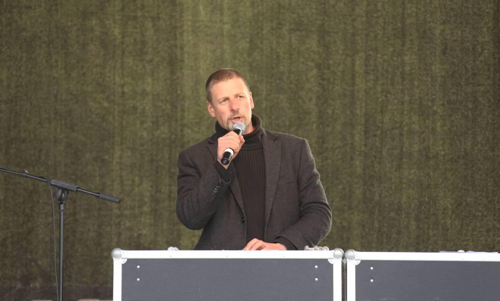 Götz Kubitschek, en un evento de Pegida en 2015.