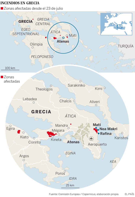 Al menos 50 muertos y 156 heridos por varios incendios en Grecia