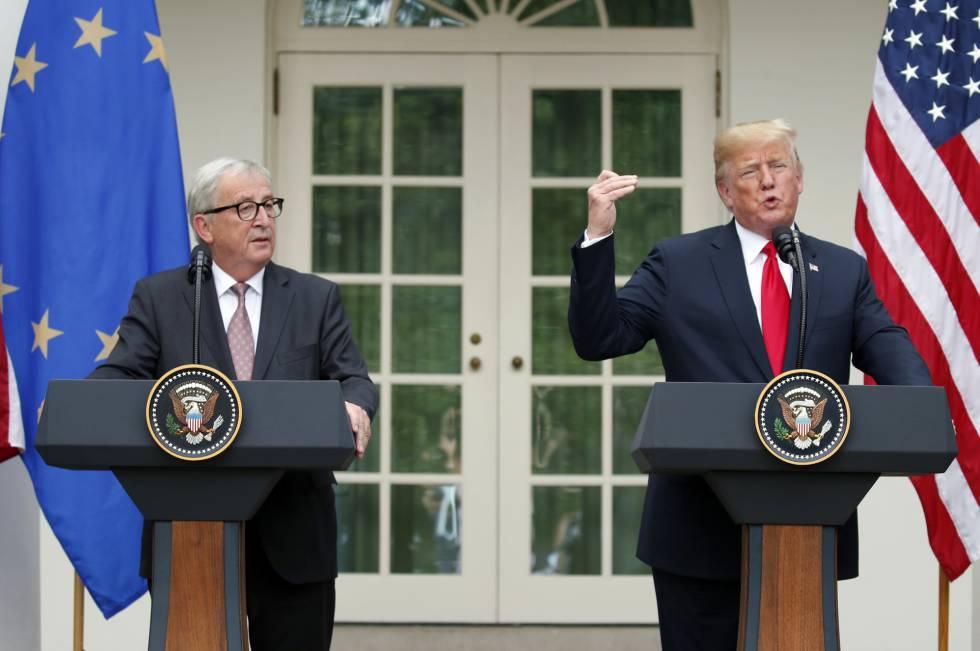 Trump y Juncker, durante la conferencia de prensa en Washington.