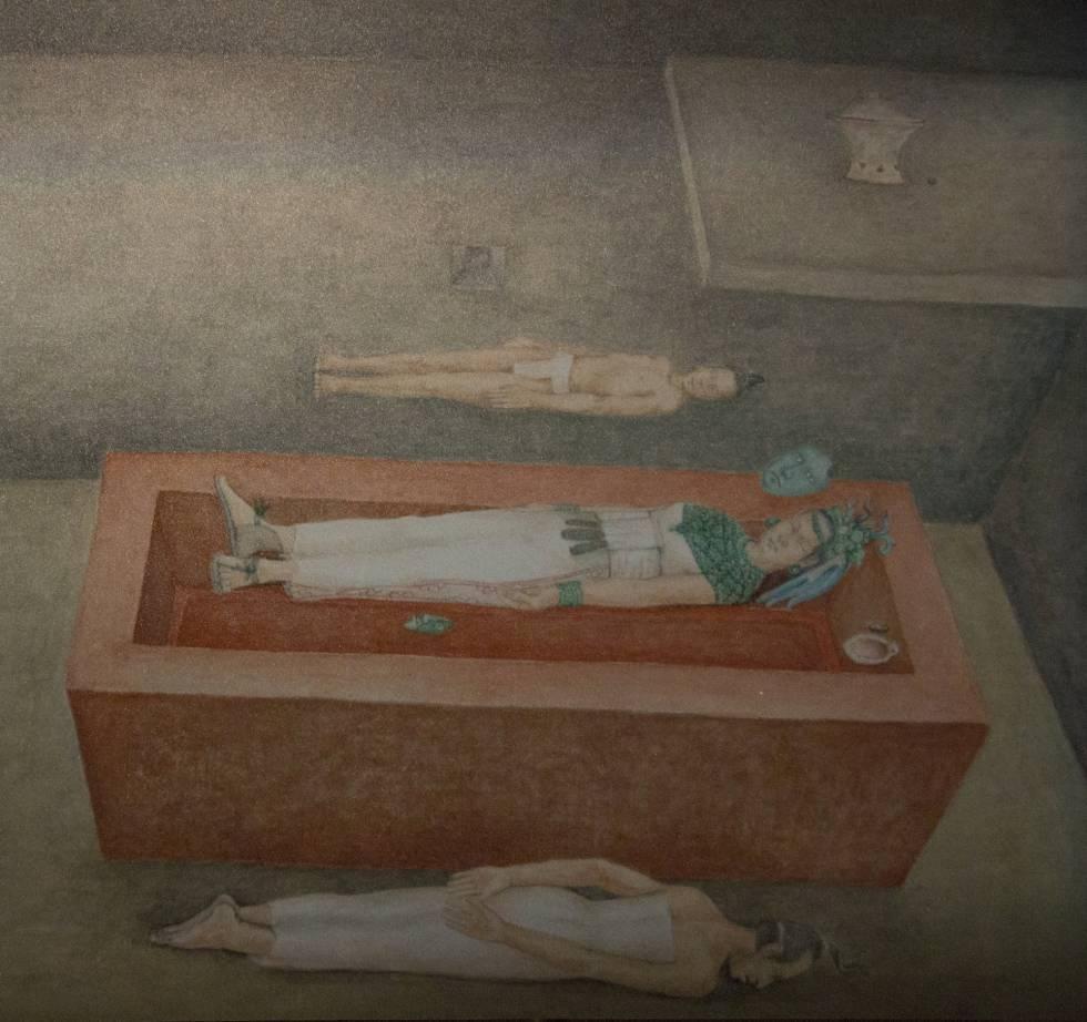 Reconstrucción de la tumba de la Reina Roja, sus ofrendas y sus sacrificados.