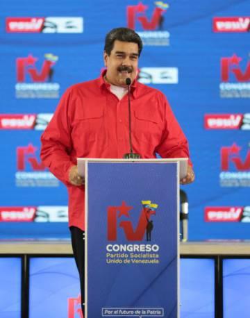 El presidente venezolano, Nicolás Maduro, en el congreso del Partido Socialista Unido de Venezuela (PSUV).