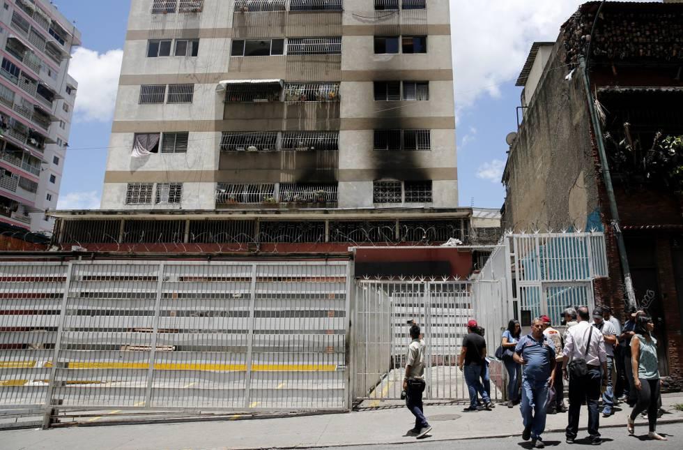 O edifício onde ocorreu a explosão em Caracas.