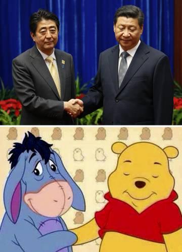 Ursinho Pooh e Bisonho, comparados com Xi Jinping e o primeiro-ministro japonês, Shinzo Abe.