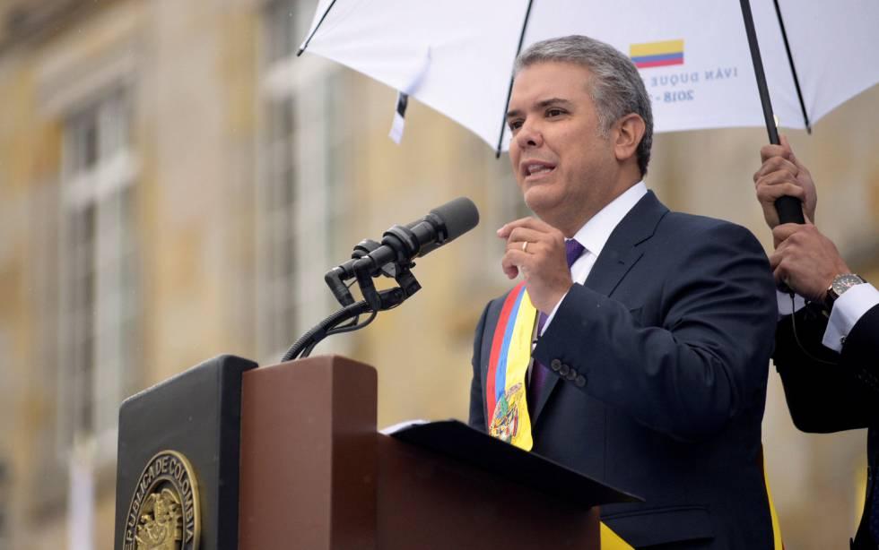 El presidente de Colombia, Iván Duque, durante la toma de protesta.