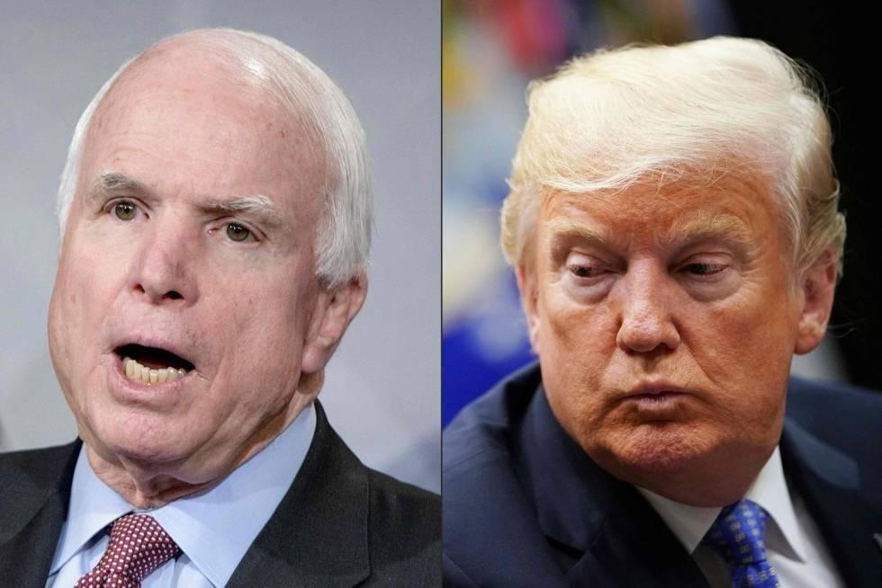 A la izquierda, el senador John McCain y a la derecha, el presidente de EE UU, Donald Trump.