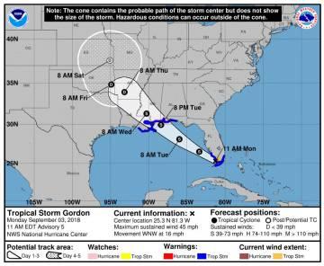 Imagen de la trayectoria prevista de la tormenta tropical Gordon cedida por el Centro Nacional de Huracanes.