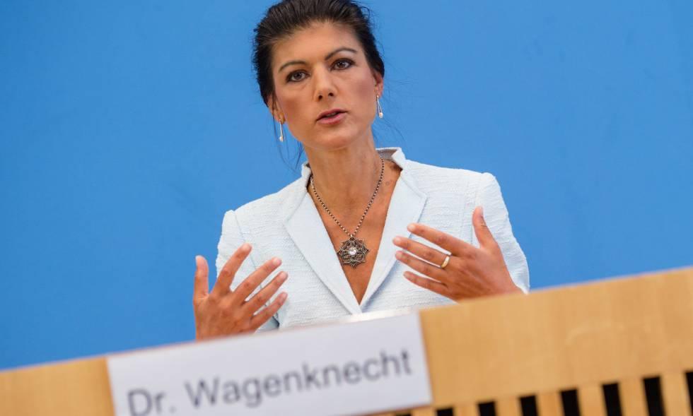 Sahra Wagenknecht en el la presentación del movimiento Levantarse.