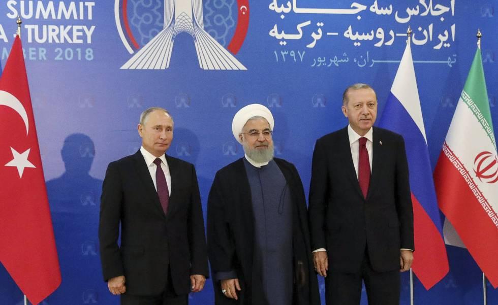 Los presidentes de Rusia, Putin; Irán, Rohaní, y Turquía, Erdogan, el viernes en Teherán.