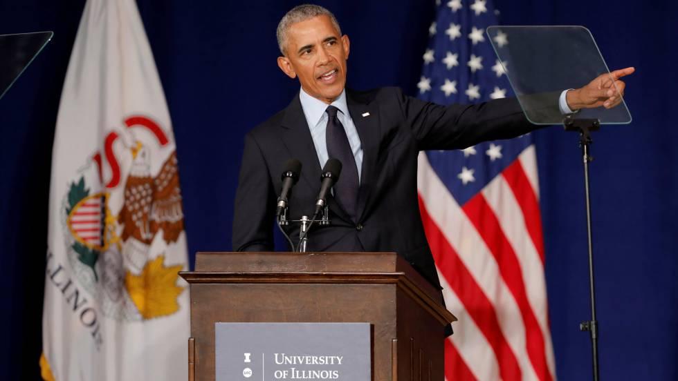 Obama, durante seu discurso desta sexta-feira em Illinois, no que atacou a Trump.