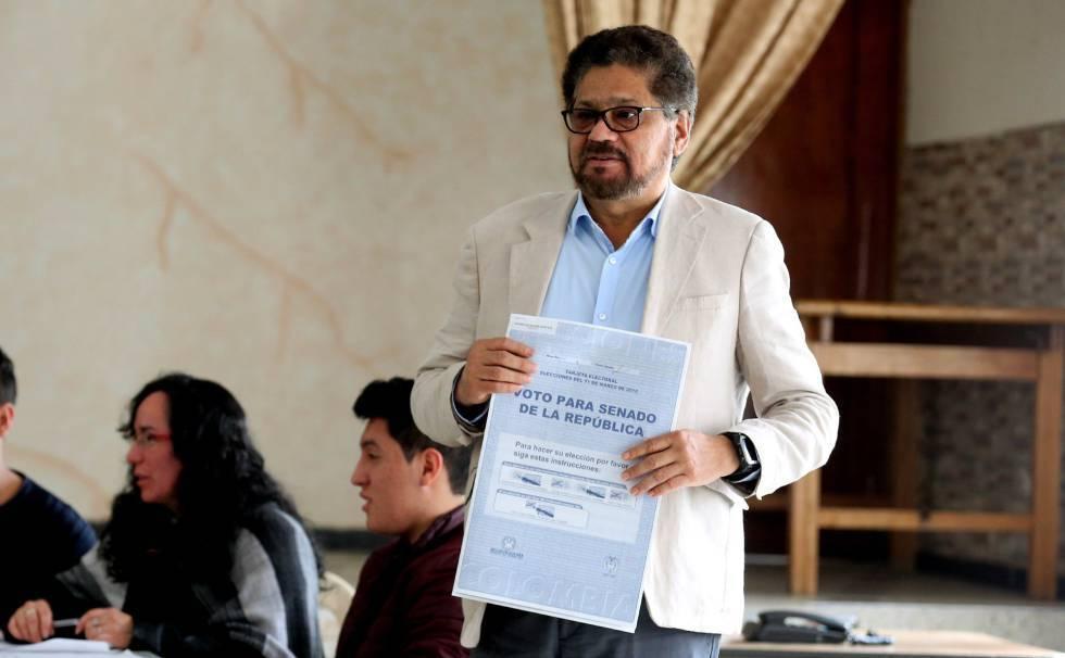 Iván Márquez, de la FARC, en las elecciones legislativas del pasado 11 de marzo.