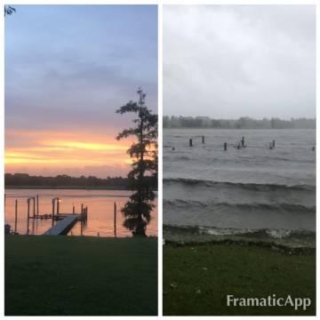 Imagen desde la casa de Helder Costa, antes y después de la tormenta en New Bern, Carolina del Norte.