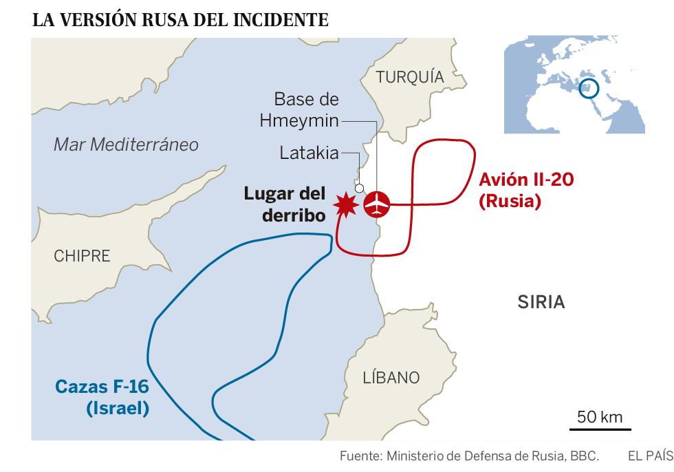 El derribo de un avión militar ruso en Siria eleva la tensión entre Moscú e Israel