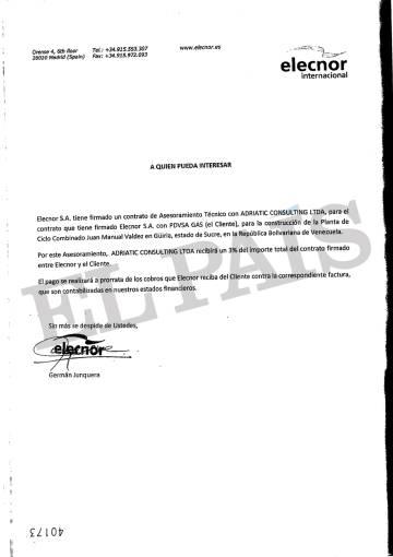 Documento firmado por el exejecutivo de Elecnor Germán Junquera que vincula la energética vasca con Adriatic Consulting, una sociedad de Nervis Villalobos, según la justicia andorrana.