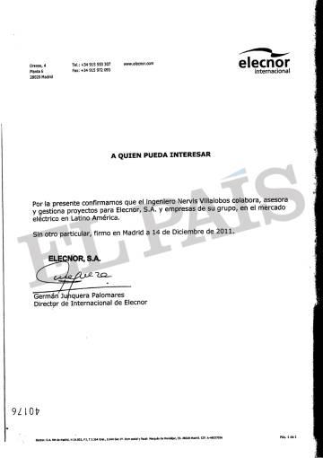 Documento firmado por el exejecutivo de Elecnor Germán Junquera que vincula a la empresa energética vasca con el exministro de Hugo Chávez Nervis Villalobos.