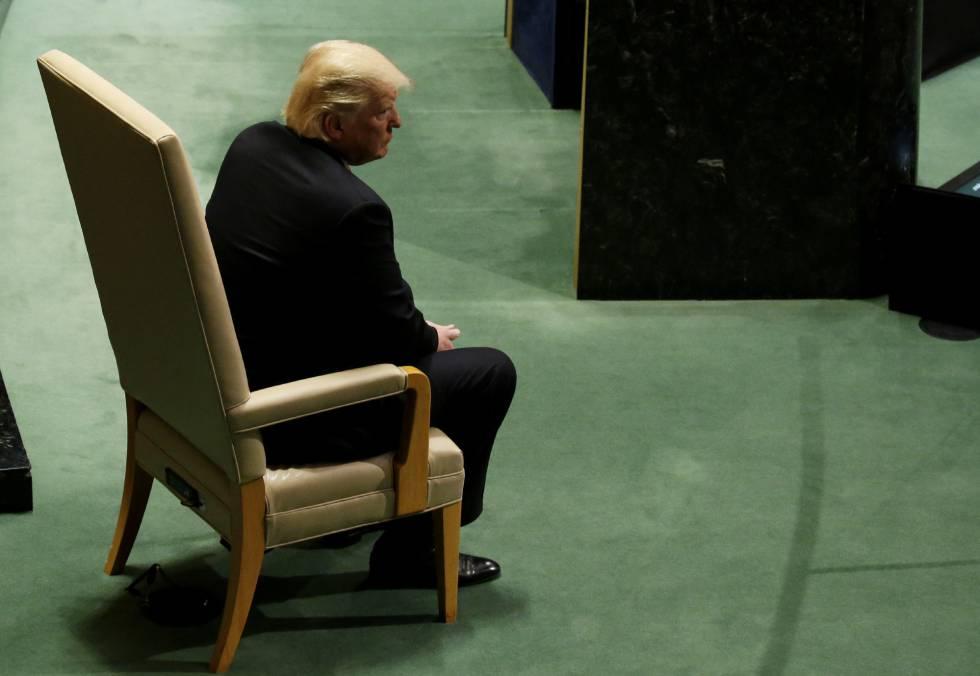 Donald Trump, este martes esperando a hablar en la Asamblea General de la ONU.