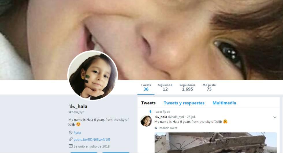 Captura de pantalla del perfil en Twitter de Hala.