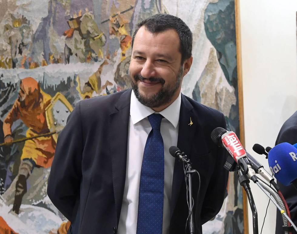 El ministro del Interior, Matteo Salvini, sonríe en una rueda de prensa en Túnez el pasado jueves.