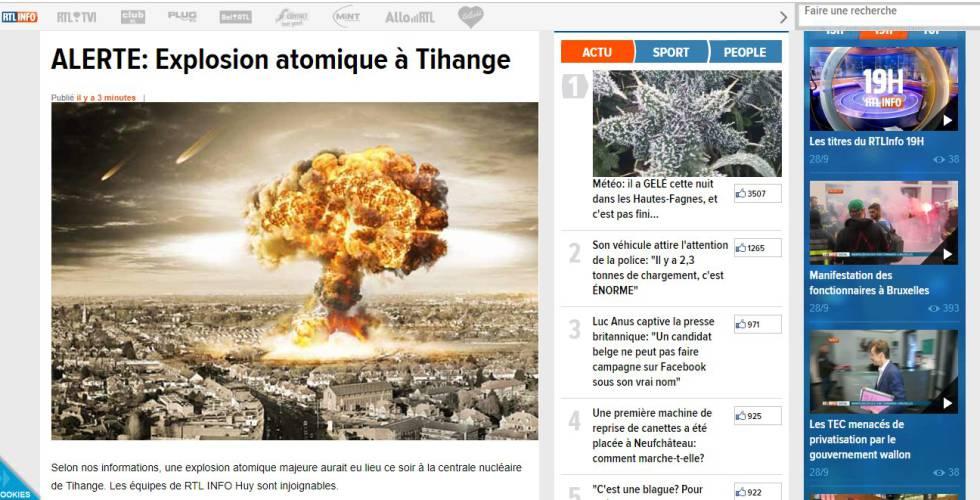 Réplica de la web de RTL utilizada por los autores de la falsa alarma.