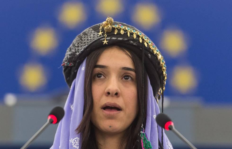 La Nobel de la Paz Nadia Murad en el Parlamento Europeo en 2016.