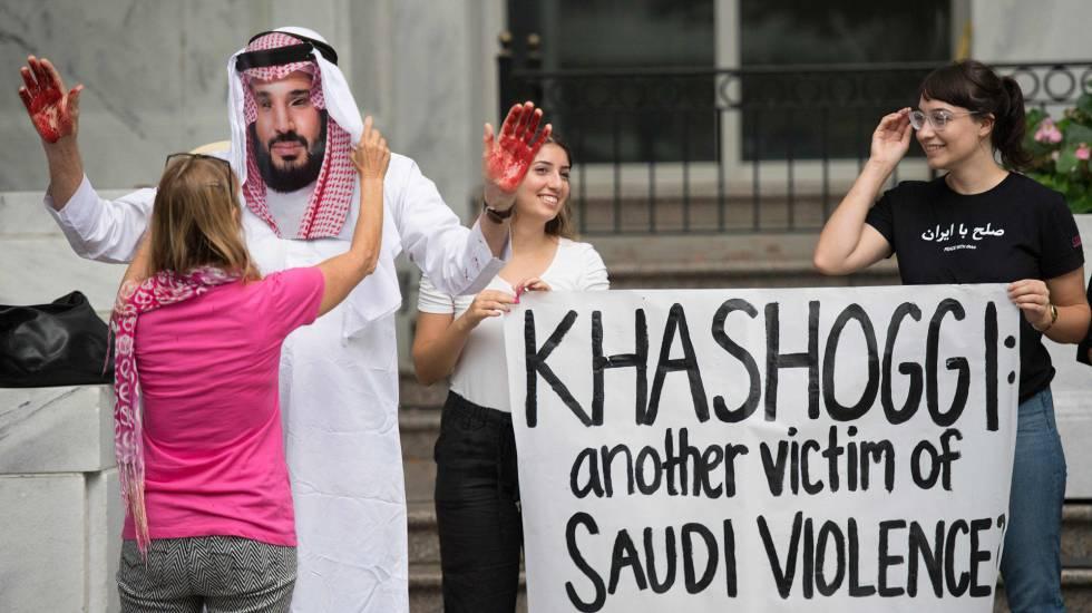 Protesta en Washington contra la desaparición de Khashoggi, este miércoles.