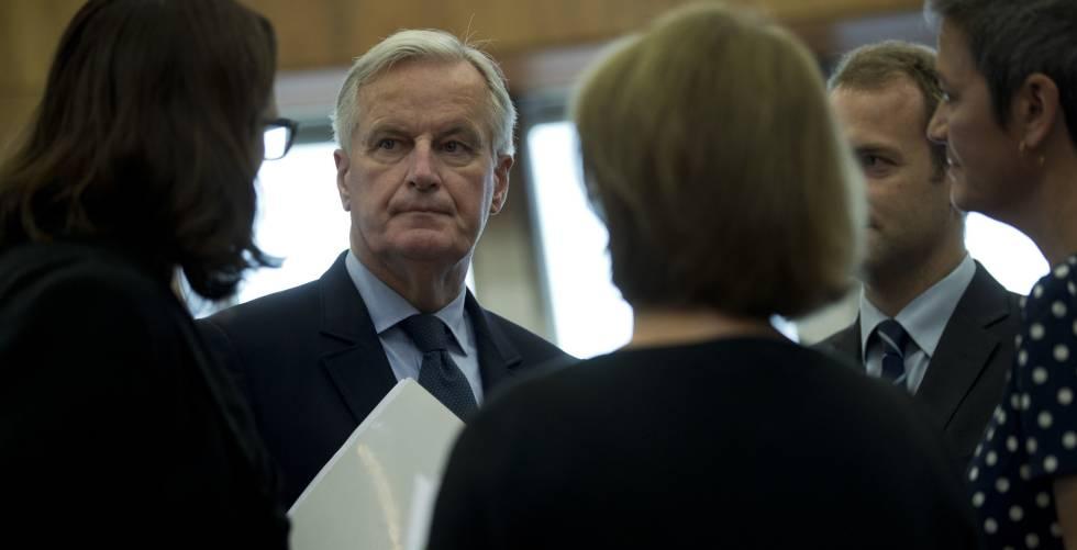 El negociador de la UE para el Brexit, Michel Barnier, en una reunión de la Comisión Europea en Bruselas, el pasado día 10.