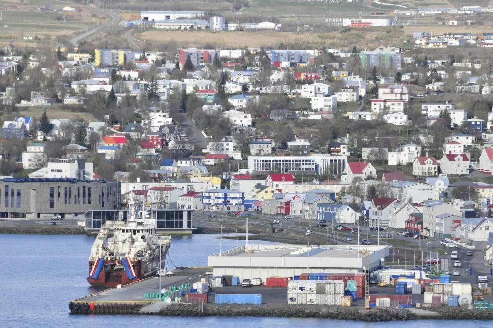Port City Of Akureyr In Iceland