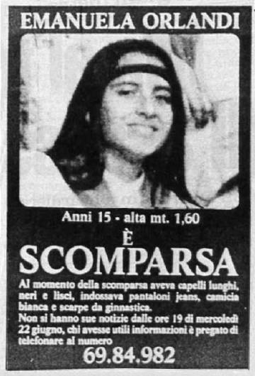 Cartel con el que la familia de Orlandi empapeló toda Roma cuando la niña desapareció.