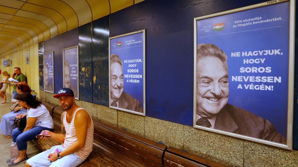 Cartaz do Governo húngaro contra George Soros em Budapeste.